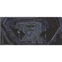 Jeff Bridges 'Clu' tank interior concept art with overlay embellishments from Tron.