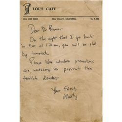 Michael J. Fox 'Marty' studio-aged letter to Christopher Lloyd 'Doc Brown' from Back to the Future.