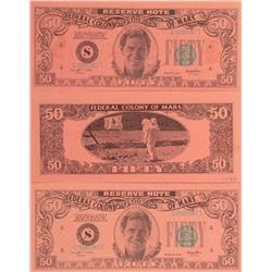 Total Recall set of (5) prop Martian Colony $50 bills.