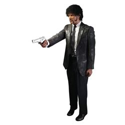 Samuel L Jackson 'Jules' studio-bloodied suit from Pulp Fiction on custom display.