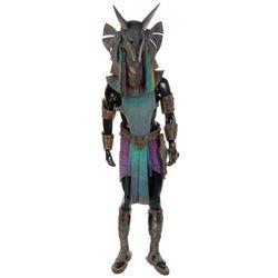 Carlos Lauchu 'Anubis' hero costume on mannequin fromStargate.