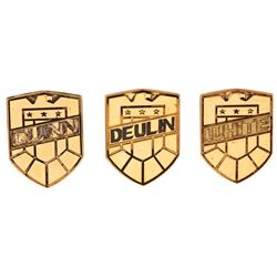 'Deulin', 'White' and 'Quinn' (3) 'Judge' badges from Judge Dredd.