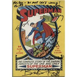 Superman Returns prop comic book signed by Brandon Routh, Kevin Spacey, Kate Bosworth and many more.