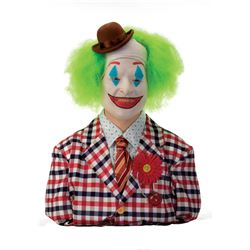Joaquin Phoenix 'Joker' test bald cap, clown hat & illuminating nose from Joker on custom display.