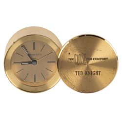 Ted Knight's personal Tiffany & Co. clock crew gift for Too Close for Comfort, script & photos.