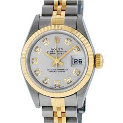 Rolex Ladies Quickset 2 Tone 18K Silver Diamond Datejust Wristwatch