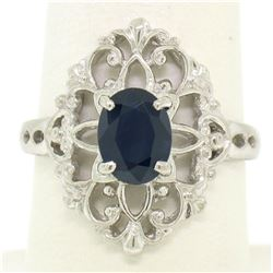 Solid Platinum 1.22 ctw Oval Deep Blue Sapphire Solitaire Open Filigree Style Ri