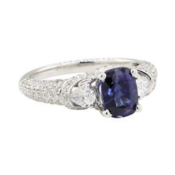 3.02 ctw Colored Stone and Diamond Ring - 18KT White Gold