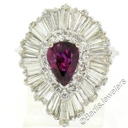 14kt White Gold 5.40 ctw Pear Ruby and Diamond Ballerina Cocktail Ring