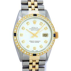 Rolex Mens 2 Tone White Diamond & Sapphire Datejust Wristwatch