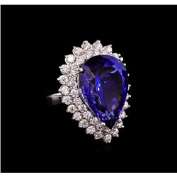 14KT White Gold GIA Certified 24.90 ctw Tanzanite and Diamond Ring