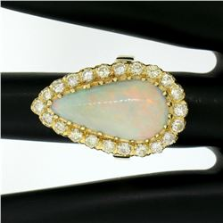 Vintage French 14k Gold 4.95 ctw Elongated Pear Opal & Diamond Halo Cocktail Rin
