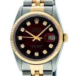 Rolex Mens 2 Tone Red Vignette Diamond 36MM Datejust Wriswatch