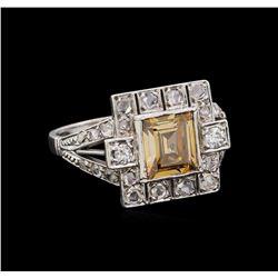 1.20 ctw Fancy Light Brown Diamond and White Sapphire Ring - Platinum