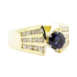 1.65 ctw Blue Sapphire And Diamond Ring - 14KT Yellow Gold