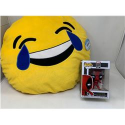 Emoji Plush Pillow and Deadpool POP Toy