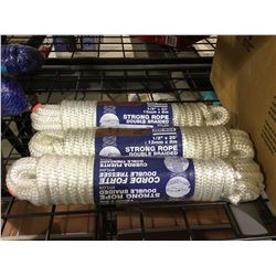 """Ben-Mor 1/2"""" x 25' Strong Rope Double Braided Nylon Lot of 3"""