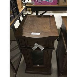 """Wooden Chairside Table w/ Power (14"""" x 17"""" x 24"""" H)"""