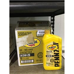 Case of Pennzoil 5W-20 Gold/Or Synthetic Blend Motor Oil (6 x 946mL)