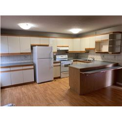 COMPLETE 22 DOOR KITCHEN CABINET SET AND APPLIANCES. Includes all cabinetry, sink, Maytag white 2 do