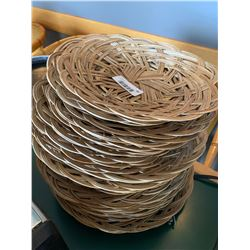 Lot of wicker service trays