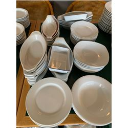 Lot of assorted restaurant service bowls and plates