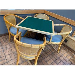 Set of Restaurant Table 32 inch x 32 inch with 4 curved back chairs