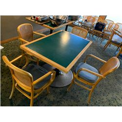 Set of - table approx 32 inch x 48 inch with 4 wicker back arm chairs