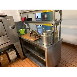 Stainless Heated Pass through counter with shelves. approx 8 ft long with double heaters