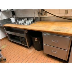 Stainless Steel heated butcher block work prep counter drawers and shelf. approx 12 ft long