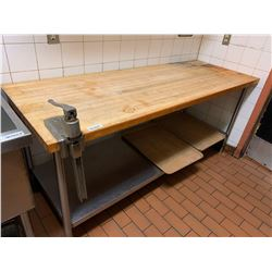 Stainless and butcher block 8 ft prep table with can opener