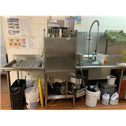 Commercial Dishwashing system with spray station and stainless counters. -THE BUYER IS RESPONSIBLE F