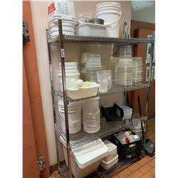 Wire shelf with contents of plastic food storage