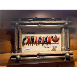 Molson Canadian wood style beer sign