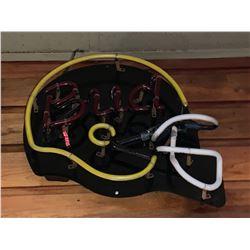 Bar Mounted Sign BUYER MUST REMOVE -Neon Bud Helmet