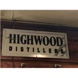 Bar Mounted Sign BUYER MUST REMOVE -Highwood Distillers