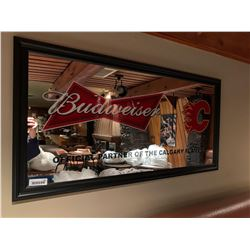 Budweiser and Calgary Flames large mirror framed