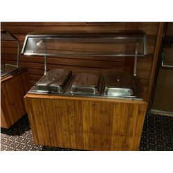 Triple well hot food buffett station with sneeze guard and inserts