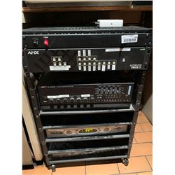 Rack with bar stereo and video components, amps , cable box, etc