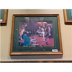 Framed Picture - Dogs playing Pool