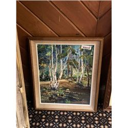 Framed oil painting forest