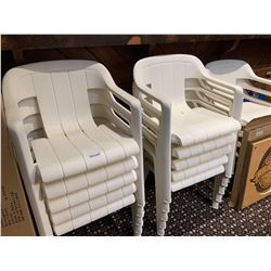 Lot of 14 White patio chairs