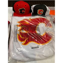 Calgary Flames Jersey and 2 hats