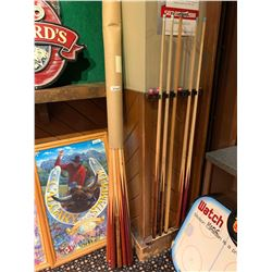 Lot of approx 15 pool cues