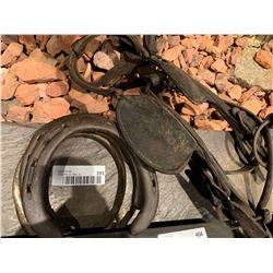 Lot of Antique horse shoes and halter