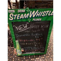 Steam Whistle Menu Display Sign