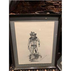 Framed Limited Edition Western Sketch - Cowboy