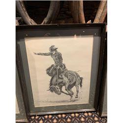 Framed Limited Edition Western Sketch - Saddle Bronc