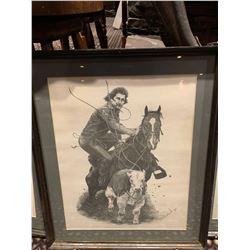 Framed Limited Edition Western Sketch - Calf Roper