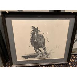 Framed Limited Edition Western Sketch - Running Bronc